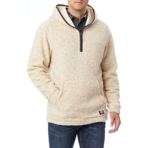 Mens 1/4 zip popover Teddy Bear Fleece Hoodie | S